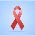 realistic red ribbon world aids day symbol on vector image