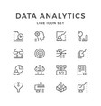 set line icons of data analytics vector image