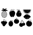 set of fruits black silhouette various on a white vector image