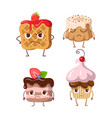 sweets set of belgian waffle and three cupcakes vector image