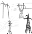 Set silhouette of high voltage power lines vector image