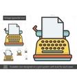 Vintage typewriter line icon vector image