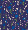 Deep blue floral pattern vector image vector image