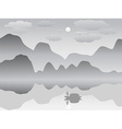 mist mountain reflection lake landscape chinese vector image