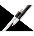 black and white pencils lie on a black and white vector image