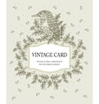 Vintage card in pastel colors with a stylized bird vector image