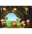Monkeys living in the cave vector image vector image