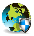 shield globe vector image vector image