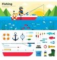 Banner Fisherman on Lake Items Fishing Icon Set vector image