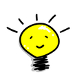 Cartoon of A Smiling Light Bulb Icon vector image