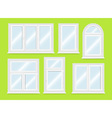 Realistic white plastic windows set vector image