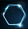 glow blue neon hexagon shiny design vector image