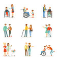 disabled people and friends helping them set for vector image