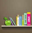 Row of colorful books and green apple vector image