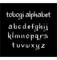 tobogi alphabet typography vector image