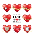 Set of Heart with ring vector image