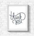 Thank you hand-drawn lettering on brick wall vector image