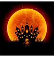 Halloween blood moon and haunted castle vector