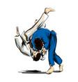 color line sketch fighting judo vector image