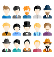 Colorful Male Icons Set in Trendy Flat Style vector image