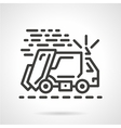 Garbage truck black line icon vector image