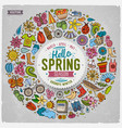 hand drawn set of spring cartoon doodle vector image
