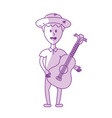 silhouette man with hat and guitar instrument vector image