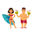 woman with surfing board and man holding cocktails vector image