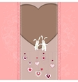 Easter card with hearts and rabbits vector image vector image