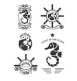 Set of vintage seahorse labels emblems and design vector image