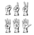 Set gestures of hands counting from zero to five vector image