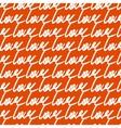 Love handwritten pattern on orange background vector image