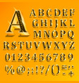 golden english alphabet on yellow background vector image
