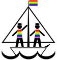 Sailors in rainbow vests vector image