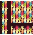 Set of hands in the crowd seamless pattern vector image