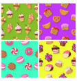 set of seamless patterns with confectionaries vector image