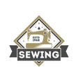 tailor sewing studio label with sewing machine vector image