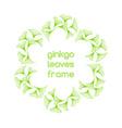 Linear ginkgo biloba leaves frame vector image