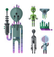 set of different funny cartoon monsters cute alien vector image