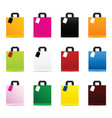 Paper bag set in color with tag vector image