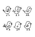Set of line art cartoon birds vector image