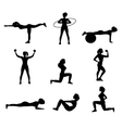 Fitness For Woman Flat Icons Set vector image