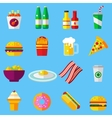 fast food design icons set for web and mobile vector image