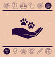 hand holding paw symbol animal protection vector image