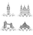 london famous buildings set engraving collection vector image