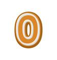 number 0 gingerbread font peppermint honey cake vector image