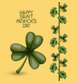 poster happy saint patricks day with clover of vector image