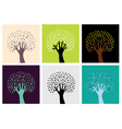 Set of abstract hand trees vector image