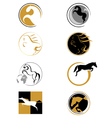 set of logos with a horse vector image vector image
