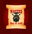 wanted dead or alive poster of mexican bandit vector image vector image